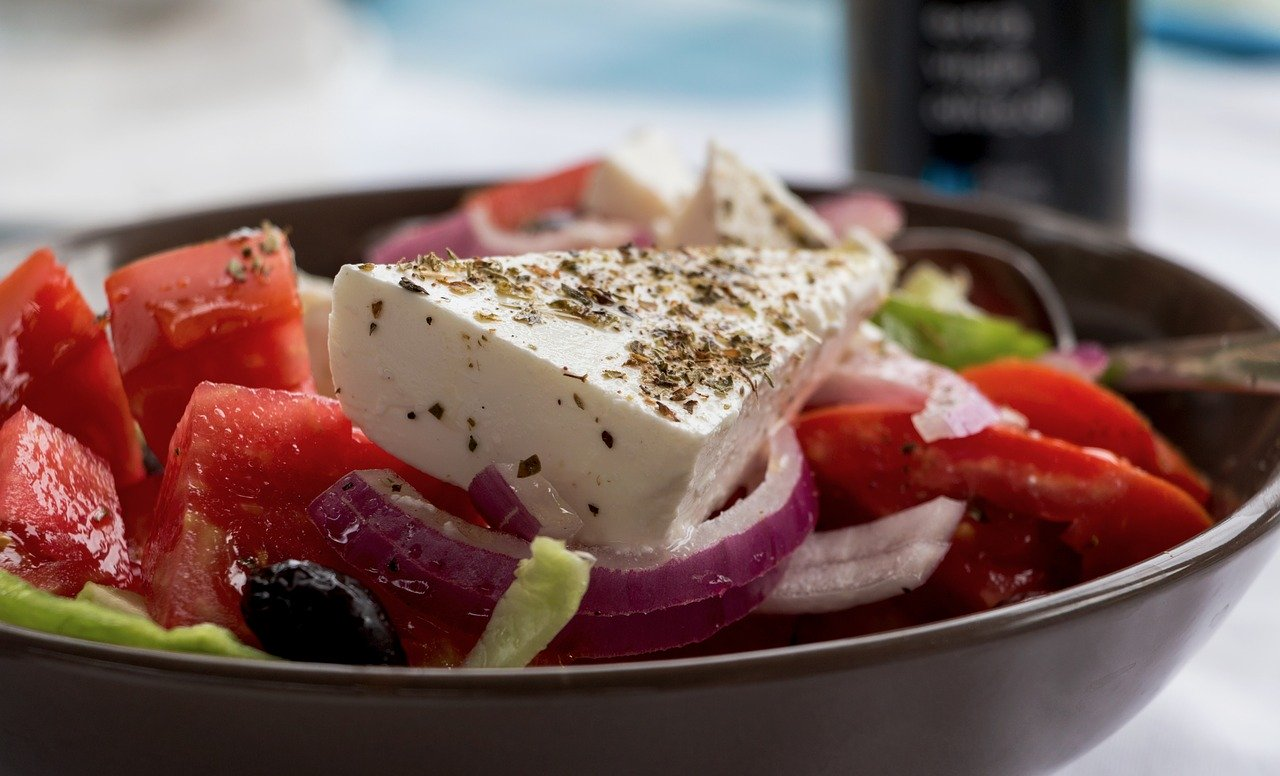greek salad, feta, shell